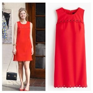 J Crew Scalloped Shift Dress with Grommets